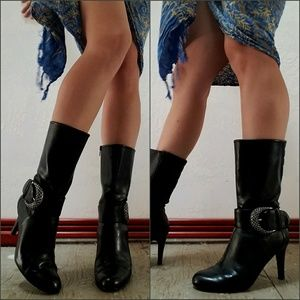 Shoes - Sexy Heeled Boots! Black Patent w/ Silver Buckle 6