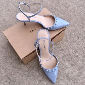 Shoes - Zara Woman Pastel Baby Blue Pointedtoe Pump