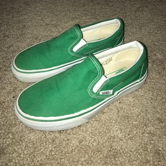 Vans Shoes   Vans Green Slip On Womens