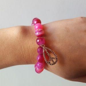 Jewelry - New Marble Pink Peace Tie Dye Crystal Bracelet