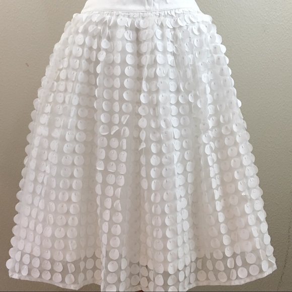 SOLD!!!-White 3-D Fabric Paillette ATulle Skirt