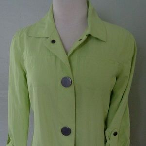 Chicos Spring Lime Green Jacket Size 0