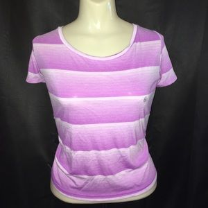 American Eagle Feather Light Purple Striped Tee