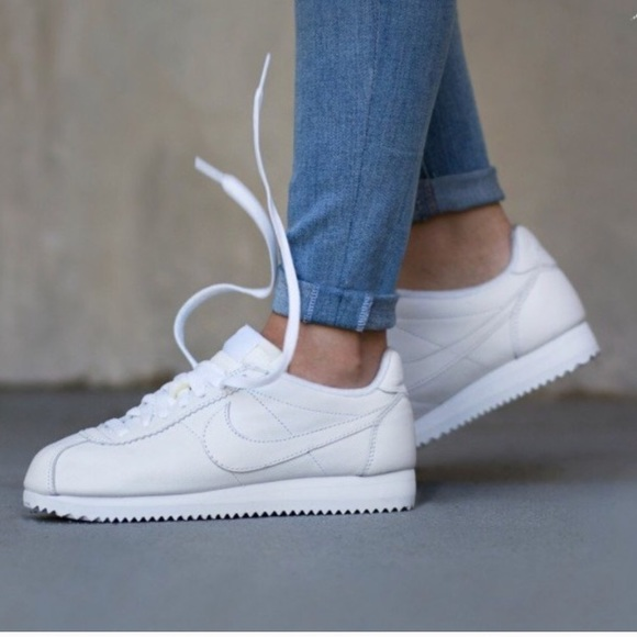 hot sale online b9576 ad9b0 ... shop nike all white cortez shoes womens new sneakers 7783b 1c194