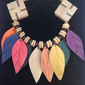 Jewelry - Wooden leaf necklace multi colored