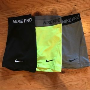 Fluorescent Yellow Nike Pro Compression Shorts
