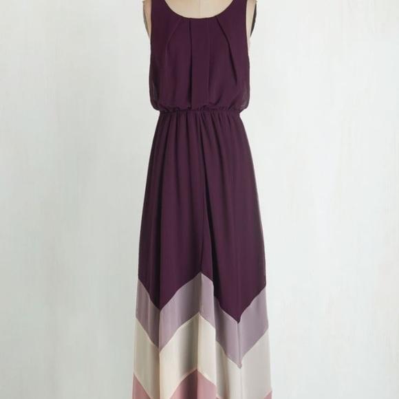 Modcloth Dresses & Skirts - NWT modcloth She & Sky purple chevron maxi dress