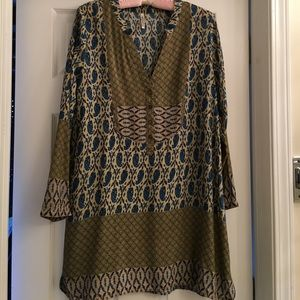 Tunic green blue & tan. Very cute with wide belt.