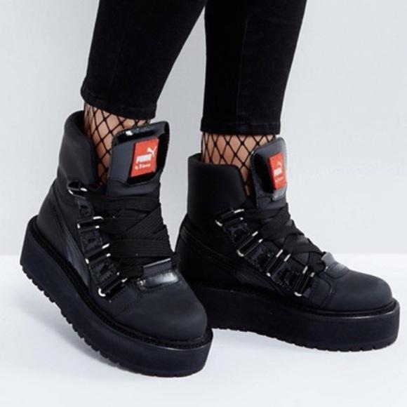 64ceb8100ccd3d Puma Fenty x Rihanna Black Eyelet Sneaker Boot 7US