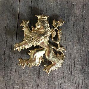 Vintage Miriam Haskell Gold Lion Medallion Brooch