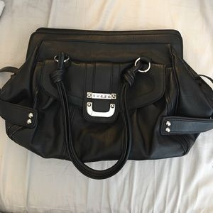 Black Leather Oversize Guess Purse