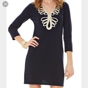 Lilly Pulitzer Navy and Gold Devlin Sweater Dress