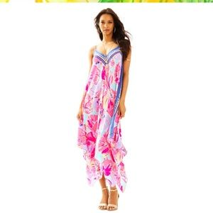 Lilly Pulitzer Rene Silk Printed Maxi Dress Large