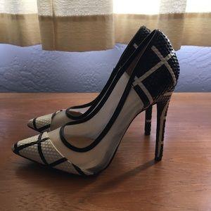 126d8ea63ba9 Shoe Republic LA Shoes - Black   White Grid Pointed Pumps