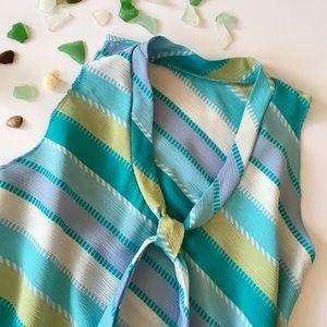 Beach glass blue stripe sleeveless v neck top