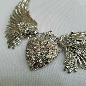 Jewelry - Wings & Heart Statement Necklace