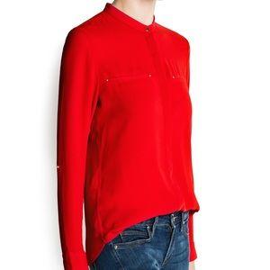 Mango Women's Red Mao Collar Chiffon Blouse