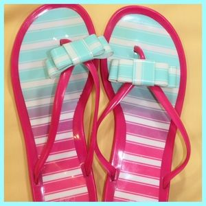 Shoes - Preppy Striped Jelly Sandals with Bow (Italian)
