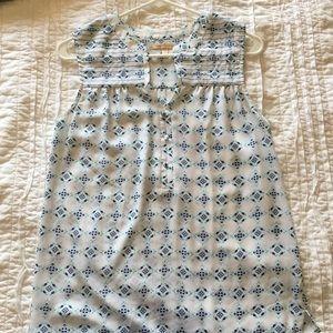 Stitch Fix white with blue pattern tank shell