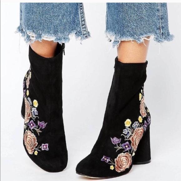 Black Velvet Embroidered Ankle Boots