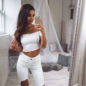 Tops - White Lettuce Cut Cropped Ruffle Top