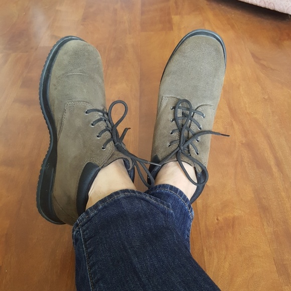 Lands' End Shoes - Lands' End Olive Green Suede Ankle Lace Up Boots