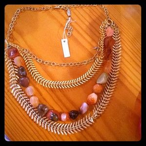 Gemstone gold plated statement necklace, carnelian