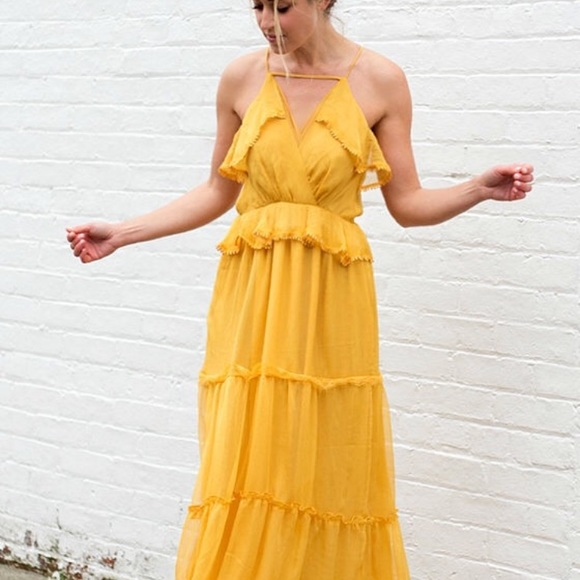 8119dec5fee102 Adelyn Rae Dresses | Yellow Ruffle Maxi Dress | Poshmark