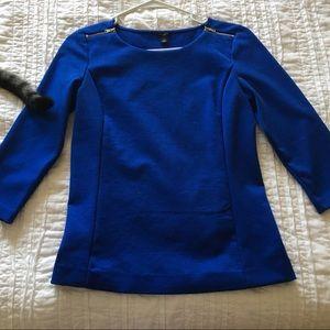 Ann Taylor boat neck zip blouse