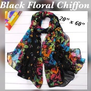 """Accessories - ✨Black Chiffon Scarf with Floral Print, 60"""" x 20"""""""
