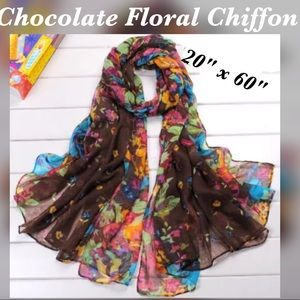 Accessories - Chocolate Brown Floral Printed Chiffon Scarf