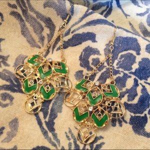 Green & Gold Chevron Chandelier Earrings New