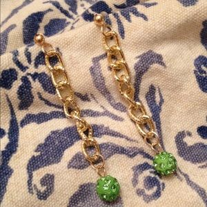 Bright Green & Gold Chainlink Earrings New