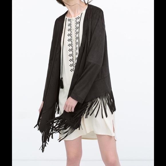 90191d29 Zara Jackets & Coats | High Low Black Suede Fringe Jacket M | Poshmark