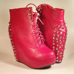 Shoes - RED WEDGE BOOTIES