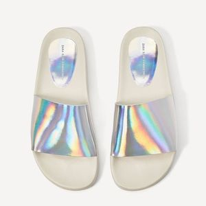 Zara silver slides with iridescent straps