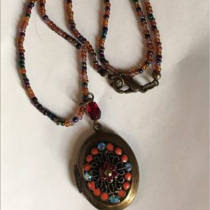 Rainbow beaded locket necklace indie hipster boho