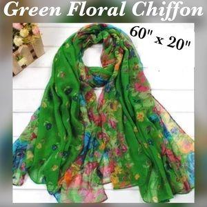 "Accessories - ✨Green Floral Print Chiffon Scarf, 60"" x 20"""