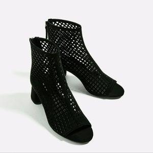 Zara high heel mesh ankle boots black 5 (2104)