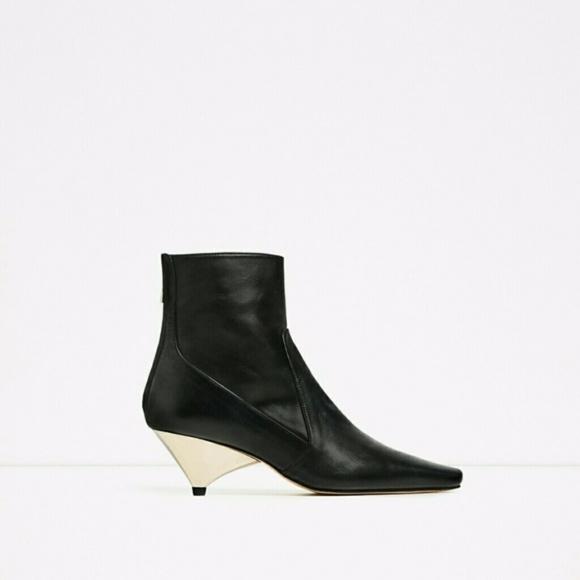 10dc0b7fd0b6 Zara Laminated High Heel Ankle boots 8 ( 5120 )