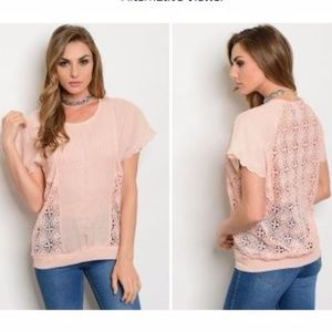 Tops - Peach crochet flutter sleeve top.