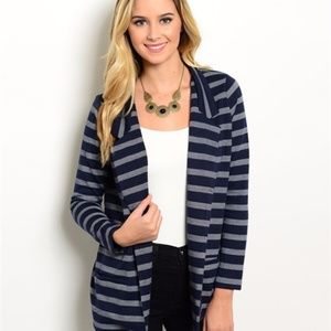 Sweaters - NAVY & IVORY CARDIGAN JACKET PERFECT 4 FALL