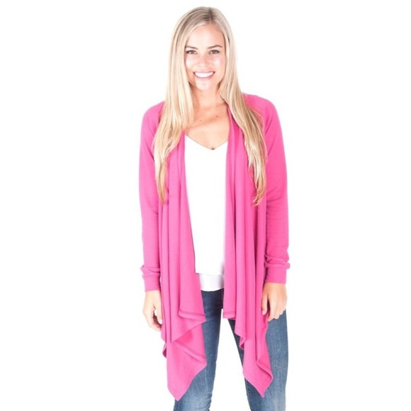 79% off All For Color Sweaters - 🍁Pink Claire Waterfall Sweater ...