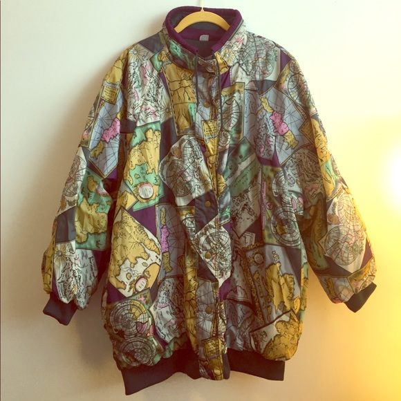 82 off anthropologie jackets coats 5 vintage world map print 5 vintage world map print windbreaker jacket gumiabroncs Gallery