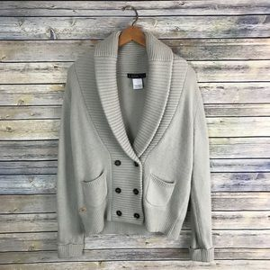 Lacoste Cream Shawl Collar Cardigan Angora Wool