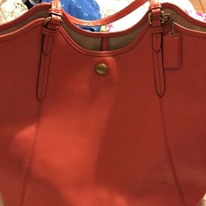 Coach saffiano leather LARGE coral tote