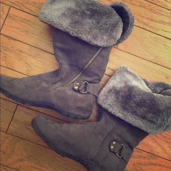 70f58997d86 Macy s Shoes - Gray Faux Fur Knee High Boots Women s ...