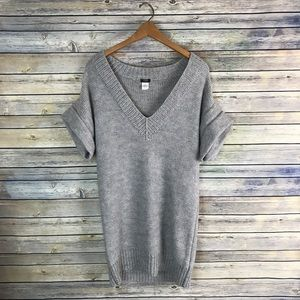 J. Crew Grey Wool V Neck Maxi Sweater