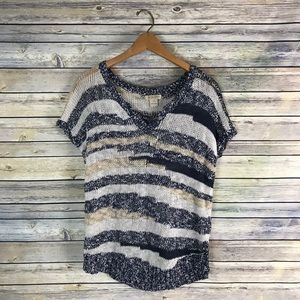 Lucky Brand Blue Stripe Short Sleeve Sweater