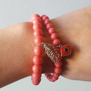 Jewelry - 2 New Bracelets Evil Eye Feather Stretch Good Luck